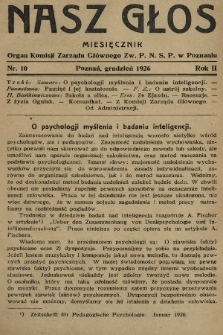 Nasz Głos : organ Komisji Zarządu Głównego [Związku Polskiego Nauczycielstwa Szkół Powszechnych] w Poznaniu : miesięcznik. R. 2, 1926, nr10