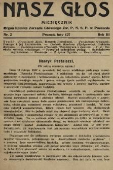Nasz Głos : organ Komisji Zarządu Głównego [Związku Polskiego Nauczycielstwa Szkół Powszechnych] w Poznaniu : miesięcznik. 1927, nr2