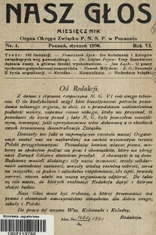 Nasz Głos : organ Okręgu Związku [Polskiego Nauczycielstwa Szkół Powszechnych] w Poznaniu : miesięcznik. R. 6, 1930, nr1