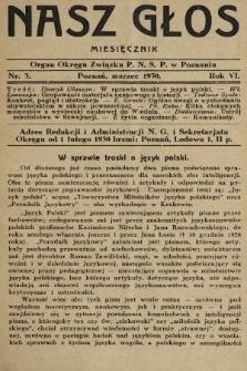 Nasz Głos : organ Okręgu Związku [Polskiego Nauczycielstwa Szkół Powszechnych] w Poznaniu : miesięcznik. 1930, nr3