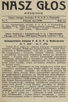 Nasz Głos : organ Okręgu Związku [Polskiego Nauczycielstwa Szkół Powszechnych] w Poznaniu : miesięcznik. 1930, nr5