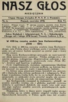 Nasz Głos : organ Okręgu Związku [Polskiego Nauczycielstwa Szkół Powszechnych] w Poznaniu : miesięcznik. R. 6, 1930, nr6