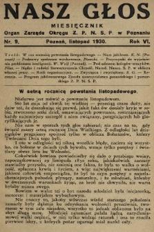 Nasz Głos : organ Zarządu Okręgu [Związku Polskiego Nauczycielstwa Szkół Powszechnych] w Poznaniu : miesięcznik. 1930, nr9