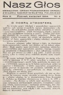 Nasz Głos : miesięcznik - organ Poznańskiego Okręgu Związku Nauczycielstwa Polskiego. 1934, nr8