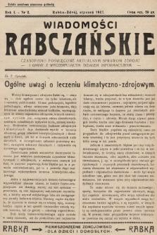 Wiadomości Rabczańskie : czasopismo poświęcone aktualnym sprawom zdroju i gminy z wyczerpującym działem informacyjnym. 1937, nr2