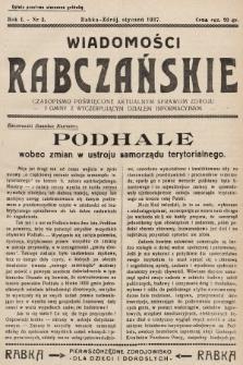 Wiadomości Rabczańskie : czasopismo poświęcone aktualnym sprawom zdroju i gminy z wyczerpującym działem informacyjnym. 1937, nr3