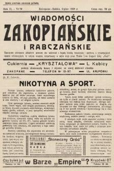Wiadomości Zakopiańskie i Rabczańskie : czasopismo poświęcone aktualnym sprawom obu uzdrowisk z bogatą kroniką towarzyską i sportową, z wyczerpującym działem informacyjnym. 1938, nr20