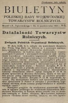 Biuletyn Poleskiej Rady Wojewódzkiej Towarzystw Rolniczych. 1926, nr2