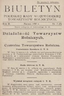 Biuletyn Poleskiej Rady Wojewódzkiej Towarzystw Rolniczych. 1927, nr3