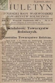 Biuletyn Poleskiej Rady Wojewódzkiej Towarzystw Rolniczych. 1927, nr8-9