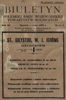 Biuletyn Poleskiej Rady Wojewódzkiej Towarzystw Rolniczych. 1928, nr1-2