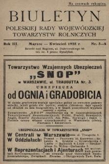 Biuletyn Poleskiej Rady Wojewódzkiej Towarzystw Rolniczych. 1928, nr3-4