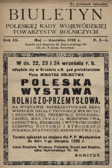 Biuletyn Poleskiej Rady Wojewódzkiej Towarzystw Rolniczych. 1928, nr5-6