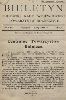 Biuletyn Poleskiej Rady Wojewódzkiej Towarzystw Rolniczych. 1929, nr1-2