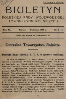 Biuletyn Poleskiej Rady Wojewódzkiej Towarzystw Rolniczych. 1929, nr3-4