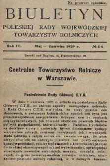 Biuletyn Poleskiej Rady Wojewódzkiej Towarzystw Rolniczych. 1929, nr5-6