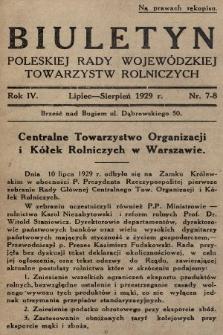 Biuletyn Poleskiej Rady Wojewódzkiej Towarzystw Rolniczych. 1929, nr7-8