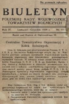 Biuletyn Poleskiej Rady Wojewódzkiej Towarzystw Rolniczych. 1929, nr11-12