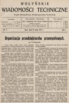 Wołyńskie Wiadomości Techniczne : organ Wołyńskiego Stowarzyszenia Techników. 1925, nr3