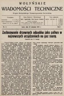 Wołyńskie Wiadomości Techniczne : organ Wołyńskiego Stowarzyszenia Techników. 1925, nr6