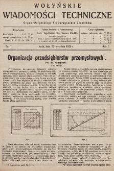 Wołyńskie Wiadomości Techniczne : organ Wołyńskiego Stowarzyszenia Techników. 1925, nr7