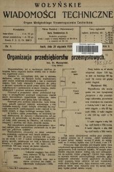 Wołyńskie Wiadomości Techniczne : organ Wołyńskiego Stowarzyszenia Techników. 1926, nr1