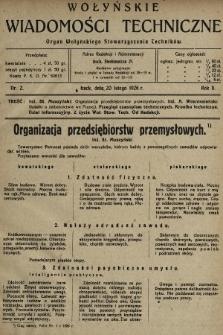Wołyńskie Wiadomości Techniczne : organ Wołyńskiego Stowarzyszenia Techników. 1926, nr2