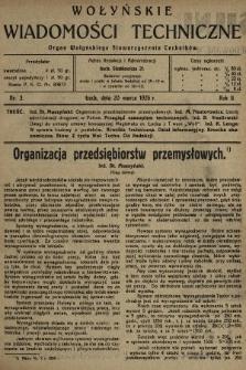 Wołyńskie Wiadomości Techniczne : organ Wołyńskiego Stowarzyszenia Techników. 1926, nr3