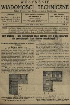 Wołyńskie Wiadomości Techniczne : organ Wołyńskiego Stowarzyszenia Techników. 1926, nr7