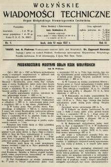 Wołyńskie Wiadomości Techniczne : organ Wołyńskiego Stowarzyszenia Techników. 1927, nr5