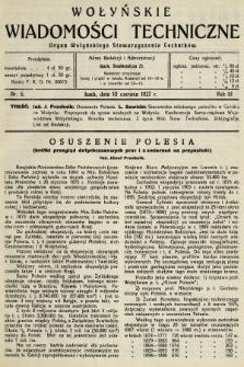 Wołyńskie Wiadomości Techniczne : organ Wołyńskiego Stowarzyszenia Techników. 1927, nr6
