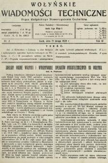 Wołyńskie Wiadomości Techniczne : organ Wołyńskiego Stowarzyszenia Techników. 1928, nr2