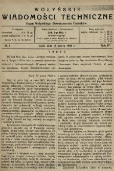 Wołyńskie Wiadomości Techniczne : organ Wołyńskiego Stowarzyszenia Techników. 1928, nr3