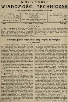 Wołyńskie Wiadomości Techniczne : organ Wołyńskiego Stowarzyszenia Techników. 1928, nr5