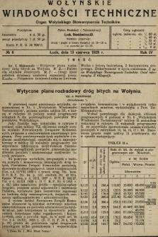 Wołyńskie Wiadomości Techniczne : organ Wołyńskiego Stowarzyszenia Techników. 1928, nr6