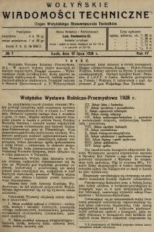 Wołyńskie Wiadomości Techniczne : organ Wołyńskiego Stowarzyszenia Techników. 1928, nr7