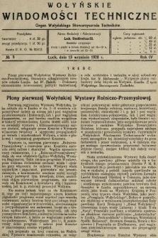 Wołyńskie Wiadomości Techniczne : organ Wołyńskiego Stowarzyszenia Techników. 1928, nr9