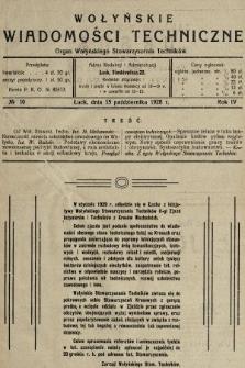 Wołyńskie Wiadomości Techniczne : organ Wołyńskiego Stowarzyszenia Techników. 1928, nr10