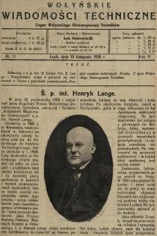 Wołyńskie Wiadomości Techniczne : organ Wołyńskiego Stowarzyszenia Techników. 1928, nr11