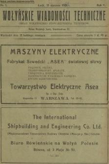 Wołyńskie Wiadomości Techniczne : organ Wołyńskiego Stowarzyszenia Techników. 1929, nr1