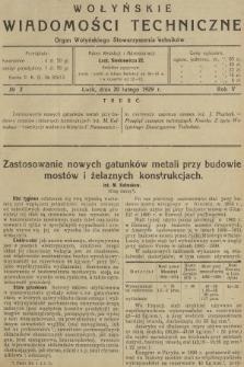 Wołyńskie Wiadomości Techniczne : organ Wołyńskiego Stowarzyszenia Techników. 1929, nr2