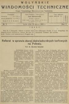 Wołyńskie Wiadomości Techniczne : organ Wołyńskiego Stowarzyszenia Techników. 1929, nr3