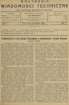 Wołyńskie Wiadomości Techniczne : organ Wołyńskiego Stowarzyszenia Techników. 1929, nr4