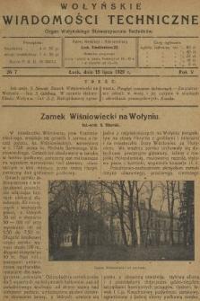 Wołyńskie Wiadomości Techniczne : organ Wołyńskiego Stowarzyszenia Techników. 1929, nr7