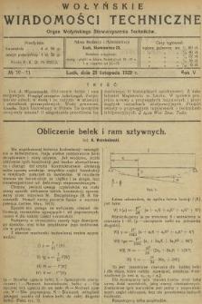 Wołyńskie Wiadomości Techniczne : organ Wołyńskiego Stowarzyszenia Techników. 1929, nr10-11