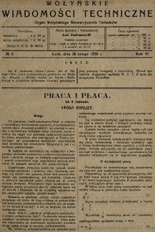 Wołyńskie Wiadomości Techniczne : organ Wołyńskiego Stowarzyszenia Techników. 1930, nr2