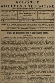 Wołyńskie Wiadomości Techniczne : organ Wołyńskiego Stowarzyszenia Techników. 1930, nr3