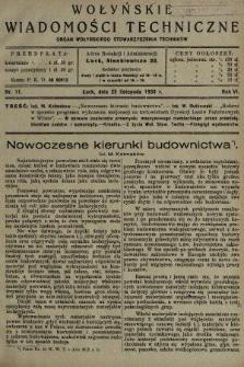 Wołyńskie Wiadomości Techniczne : organ Wołyńskiego Stowarzyszenia Techników. 1930, nr11