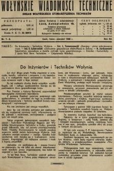 Wołyńskie Wiadomości Techniczne : organ Wołyńskiego Stowarzyszenia Techników. 1936, nr7-8
