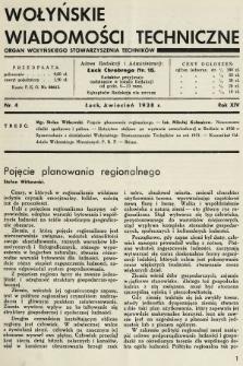 Wołyńskie Wiadomości Techniczne : organ Wołyńskiego Stowarzyszenia Techników. 1938, nr4